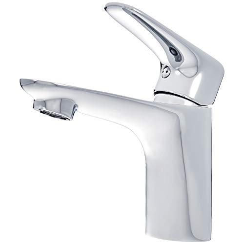 AmazonBasics - Mezclador de grifo de lavabo estándar, corto, cromo pulido