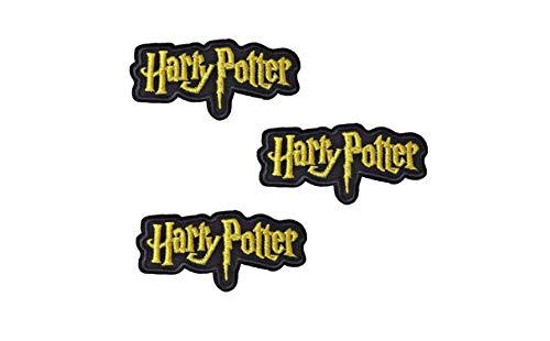 Patches, Bügelbild, Aufnäher, Aufbügelmotiv Harry Potter Schriftzug 3 Stück