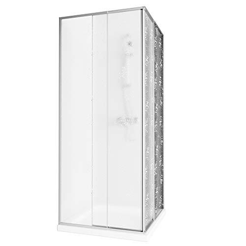 Aquabad® Simpla | Eckeinstieg Duschkabine | Rahmenfarbe: Silber | Plexiglas mit Tropfendekor (Acrylglas) | Größe Variabel: 75-90 x 75-90 x 185 cm