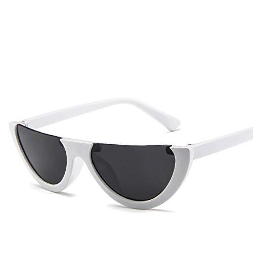 Secuos Gafas De Sol De Ojo De Gato Sin Montura De Medio Marco A La Moda para Mujer, Gafas De Sol Transparentes De Diseñador De Marca A La Moda para Mujer, Blanco