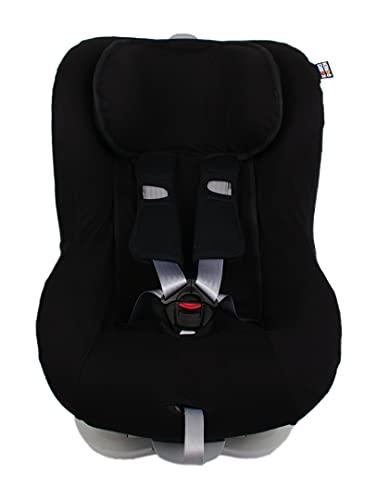 Kaarsgaren Funda de asiento infantil para Britax Römer King II, modelos de edad 1 + 9 – 18 kg, para sistemas de cinturón de 3 y 5 puntos (negro, 9 – 18 kg)