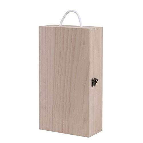 Wein-Kiste aus Natürliches Holz | Wein Geschenk Box für 2 Flasche mit Deckel und Verschluss | 35 x 20 x 10 cm | Perfekt für Decoupage, Lagerung, Dekoration oder als Geschenk-Holzkiste