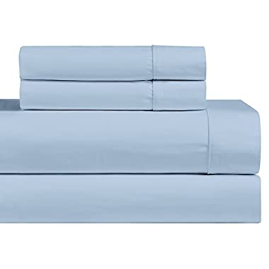 Luxury Solid Blue Queen 1000 Thread Count Sheet Set- 100% Long Staple Cotton Sateen Weave Sheets
