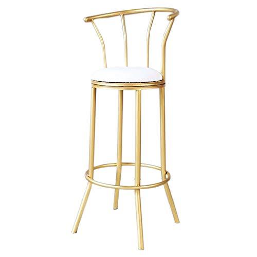 JQQJ barkruk, industrieel en holle rug, ijzer, barstools, van PU-leer, gemakkelijk te onderhouden, rond, hoge stoel, kruk 40x40x75cm Metaal