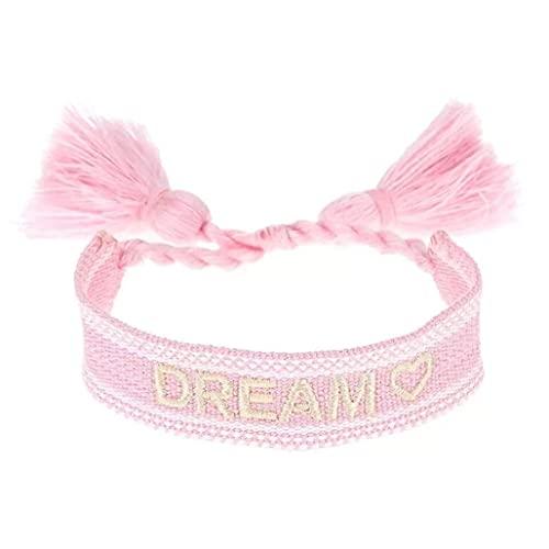 stickerbeauty Damen Schmuck Freundschaftsarmbänder Stoffarmband Armband Armbänder Stickerei SB070421A1 (Rosa_Dream)