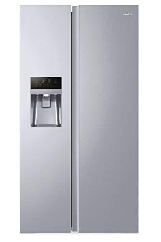 Haier HSOGPIF9183 Side-by-Side Kühl-Gefrier-Kombination / 337 L Kühlteil / 178 L Gefrierteil / Wasser- und Eiswürfeldispenser / Festwasseranschluß / Multi-Airflow-System / Total No Frost