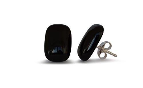 Ágata negro arito, natural, rectángular, 10x14mm, plata de ley 925