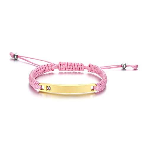 Pulsera NA personalizada con texto personalizado, para mujeres y hombres, Oro rosa