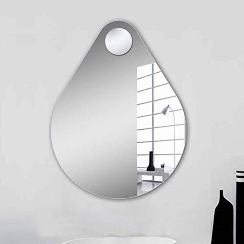 GOG Lupa Portátil Multipropósito, Espejo para Baño Espejo para Colgar en la Pared Espejo con Forma de Gota de Agua con Lupa Espejo de Pared 50 × 70 cm Espejo para Baño