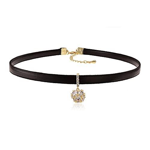 Collar,Collar De Mujer con Cadena En Forma De Estilo Punk Hueco Hueco Collar De Cuerda De Cera Collar De Aleación Collar Ajustable (Color : Gold)