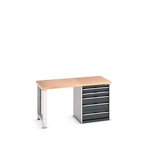 cubio Werkbank mit Schubladenschrank, 5 Schubladen, Fuß, Rotbuche-Platte