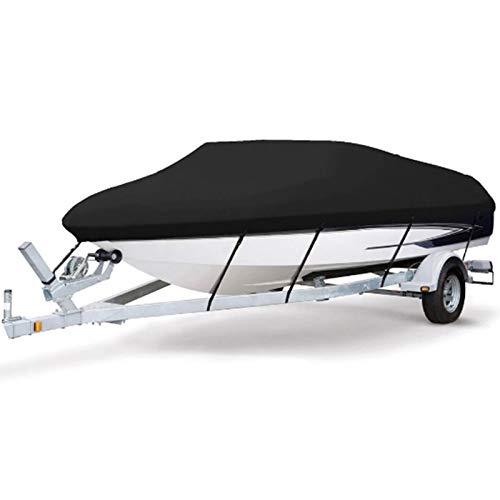 RTMX&kk Cubierta para Barco, Resistente 210D con Protección UV Impermeable Duradero Oxford 420D Facilita El Plegado para Lancha Rápida Pesca Esquí V-Hull, Negro,11to13FT