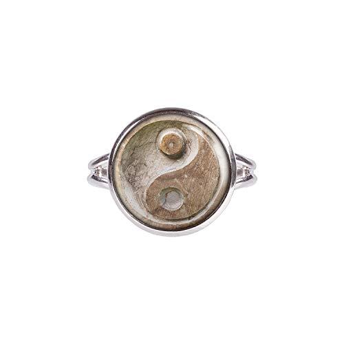 Mylery Anillo con Motivo Piedra Tallada de Yin Yang de Taiji Plata Diferentes tamaños