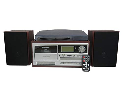 Roadstar HIF-8892EBT Retro-Musikanlage mit Plattenspieler (CD / MP3-Player, Kassette, Bluetooth, USB, SD, AUX-In, Encoding-Funktion, 64 Watt Musikleistung, Kopfhöreranschluss, Holzgehäuse), braun