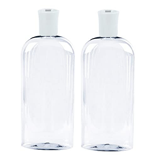 JND Plastic Squeeze Bottle with Flip Cap 8 Oz - Refillable Portable, Travel Size, Leak Proof and Reusable for Household Use, Shampoo, Conditioner, Cleaning Solutions (2 Pack, 473 ml)