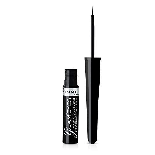 Rimmel London Glameyes, Delineador de oyos líquido tono 001 Black Glamour, 3.5 ml