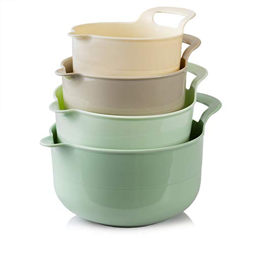Cook with Color Mixing Bowls - 4 Piece Nesting Plastic Mixing Bowl Set with Pour Spouts and Handles (Ombre Mint)