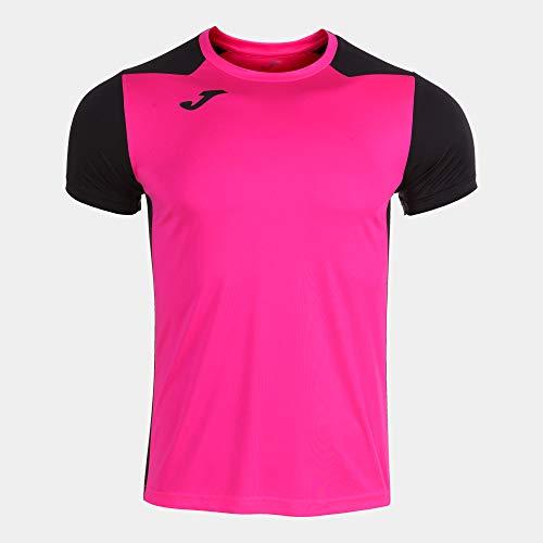 Camiseta Manga Corta Record II Rosa flúor Negro