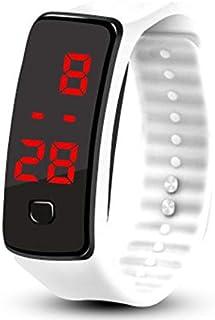CamKpell Orologio da Polso a LED in Silicone Orologio da Polso Sportivo per Fitness Leggero e Morbido per Uomo Donna - Bianco
