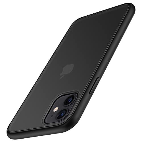 TENDLIN Funda Compatible con iPhone 11, Carcasa Protectora Anti Choques con Duro Translúcida Mate Panel Posterior y Marco de Silicona Suave Cómoda Case - Negro Mate