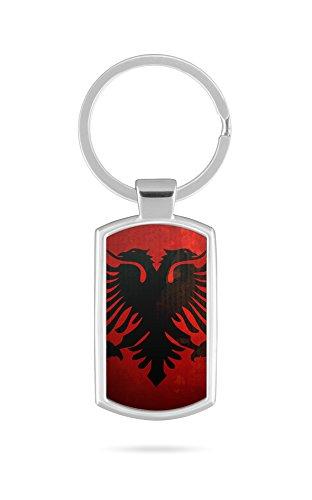 Schlüsselanhänger mit Gravur Wunschtext Name Albanien Fahne 1