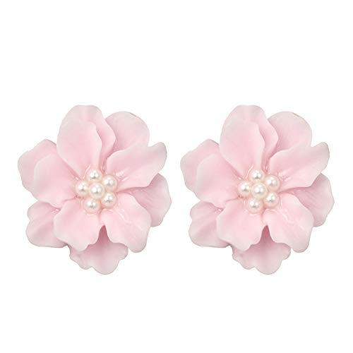 Women Girls Big Pink Camellia Flower White Pearl Beads Blosson Studs Flowers Silver-tone Needle Stud Earrings