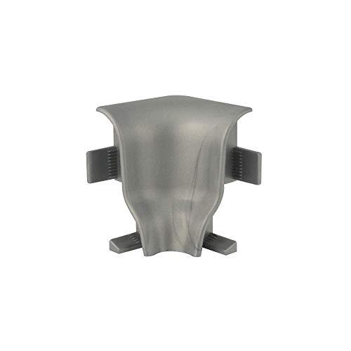 Trevendo® 10 Stück Innenecke silber für Sockelleiste Fußleiste geschwungen 40 mm Höhe
