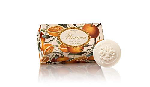 Orangenseife, rund 6 St 50g, handgemachte italienische Seife aus Fiorentino, mit dekorativer Prägung