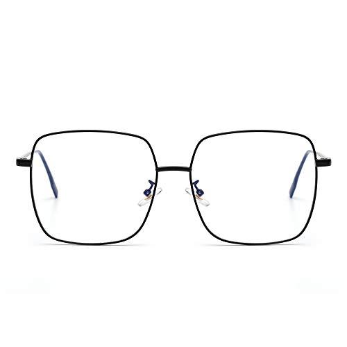 JM Blue Light Blocking Gaming Glasses Square UV400 Protection Metal Optical...