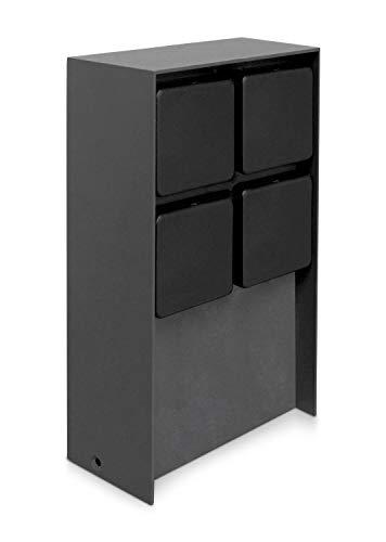 LED Universum Toma de corriente para exterior 'ADAM', acero inoxidable, antracita, con cubiertas negras, 4 enchufes, máx. 3680 W