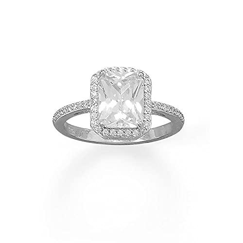 JewelryWeb Mujer 0.925 plata de ley redonda Cubic Zirconia