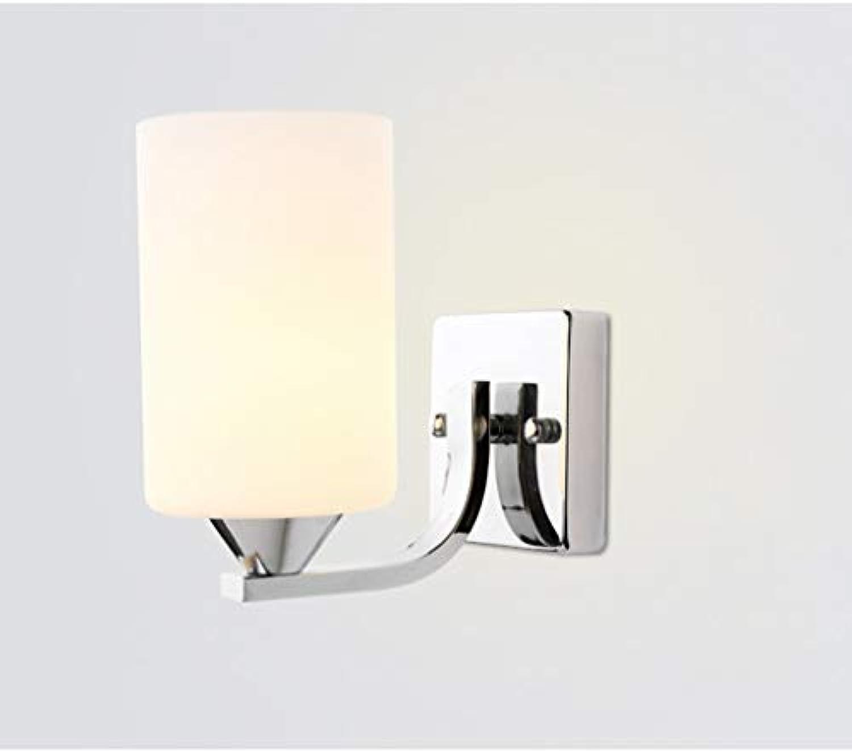 JFFFFWI Edelstahl Glas Wandleuchte Hotelzimmer Schlafzimmer Restaurant Nachttischlampe Gang Flur Lichter (Farbe  Single Head)