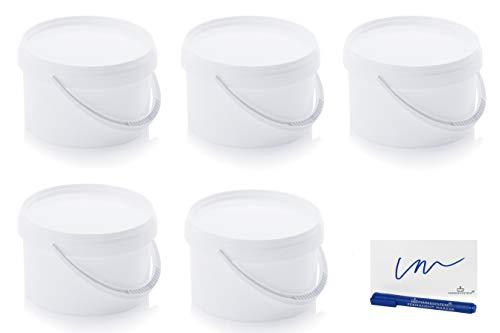 MARKESYSTEM Cubo HERMÉTICO Catering Pack de 5 X 2,6 litros - Cubos de Plástico con Tapa - Contenedores Apilables - Envasar Alimentos, Líquidos y Pinturas - Polipropileno Blanco + Kit Etiquetad
