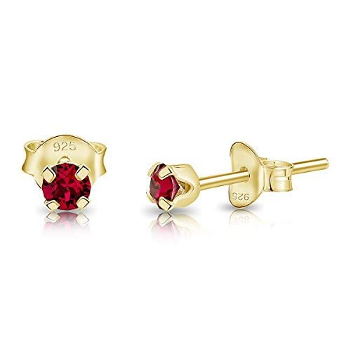 DTPSilver - 925 Sterling Silver Yellow Gold plated Round TINY Stud Earrings made with Glittering Crystals from Swarovski Elements - Diameter: 3 mm - Colour : Ruby