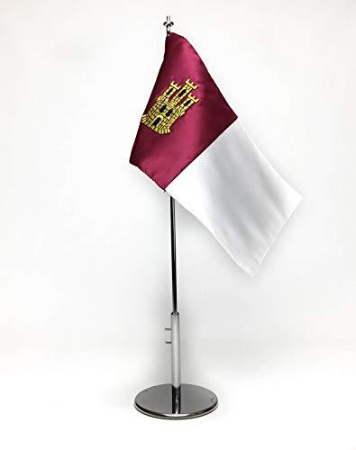 ABBE Global Bandera de Mesa Bordada de Castilla la Mancha 15x25 y mástil