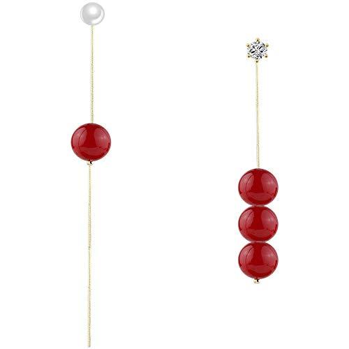 Stud Drop Dangle Earrings Jewelry for Girls Women Red Pearl Asymmetric Tassel Simple Earrings gift idea for girlfriend/wife/daughter