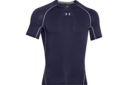 Under Armour Ua Hg Armour Ss, Maglietta Uomo, Blu (Midnight Navy/Steel 410), M