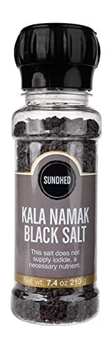 Sundhed Himalayan Black Rock Salt Kala Namak (Course) in Grinder   210 Grams (7.40 oz)   Natural Vegan Seasoning
