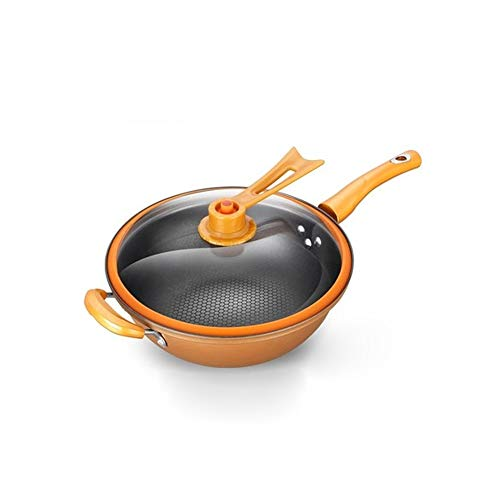 ZLDGYG 32 cm vacío wok sartén antiadherente sin aceite olla de humo olla de hierro cocina doméstica cocina de inducción sartén universal