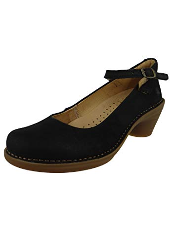 El Naturalista Damen Riemchen Pumps Aqua, Frauen Pumps,lose Einlage,Court,Shoes,Absatzschuhe,Spangenpumps,bequem,Schwarz (Black),40 EU / 7 UK