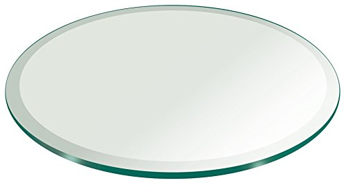30' Inch Round Glass Table Top 3/8' Thick Tempered Beveled Edge by Fab Glass and Mirror