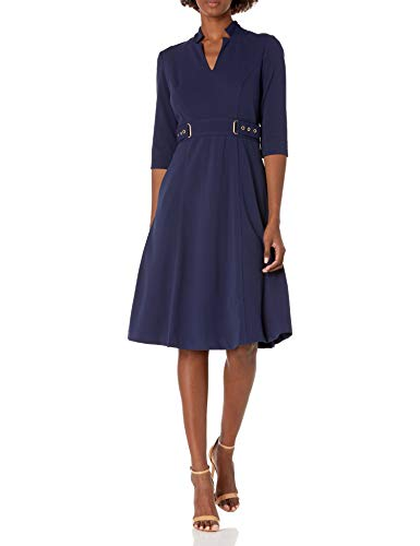 Tahari ASL Women's Elbow Sleeve Star Neck Fit and Flare Dress Business Casual, Navy, 8