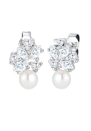 Elli Pendientes prémium para mujer, bola de plata 925 rodiada, circonias marquesinas, perlas cultivadas de agua dulce, color blanco - 0302291317