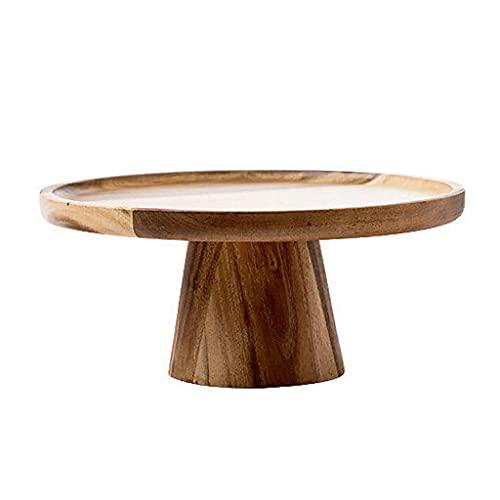 Retro madera sólida fruta postre postre trenza bandeja de madera bandeja de madera conjunto de té de la tarde postre mesa de exhibición (Color : A)