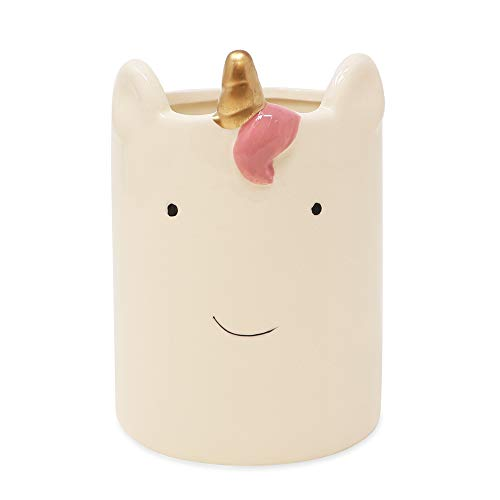 Isaac Jacobs White Ceramic Unicorn, Makeup Brush Holder, Multi-Purpose Cup Organizer. Bathroom, Kitchen, Bedroom, Office Décor (Single Cup, Unicorn)