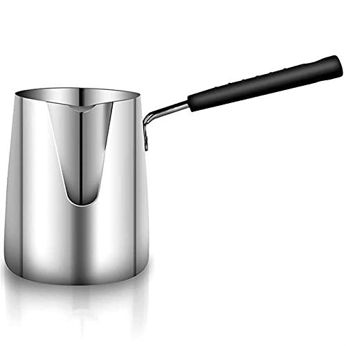 Mantequilla de acero inoxidable y calentador de café, cafetera turca, mini mantequilla, olla de fusión y olla de leche con pico (Color : Silver)