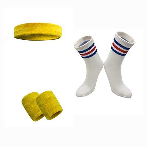 EGM Deportes Running Walking Baloncesto Calcetines de fútbol Traje Diadema elástica y Pulsera para Hombres y Mujeres 4Piezas