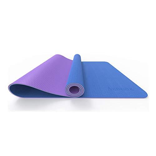 MZT Estera de Yoga Estera de Fitness Antideslizante Estera de Entrenamiento de Caucho Natural Estera de Fitness de Pilates Engrosada Adecuada para Yoga/Fitness 183cm * 61cm * 6mm,Purple Blue