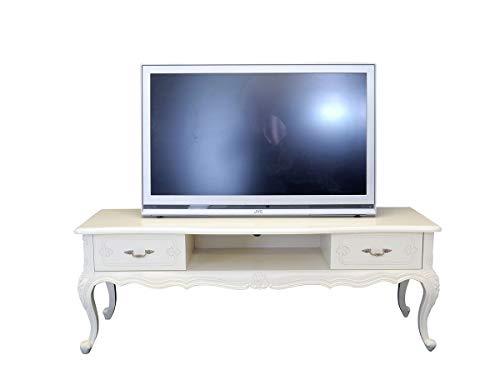 Antike Fundgrube Lowboard TV Schrank TV Tisch Sideboard Massivholz in Creme-weiß (6642)