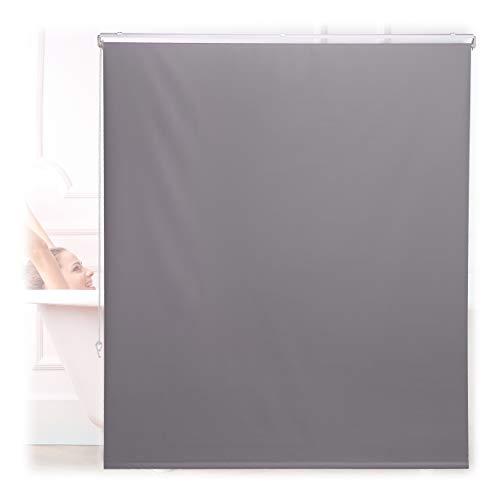 Relaxdays Duschrollo, 140x240 cm, Seilzugrollo für Dusche & Badewanne, Decke & Fenster, Badrollo wasserabweisend, grau, 10034185_1048